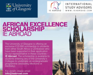 University of Glasgow IE Abroad African Excellence Scholarship