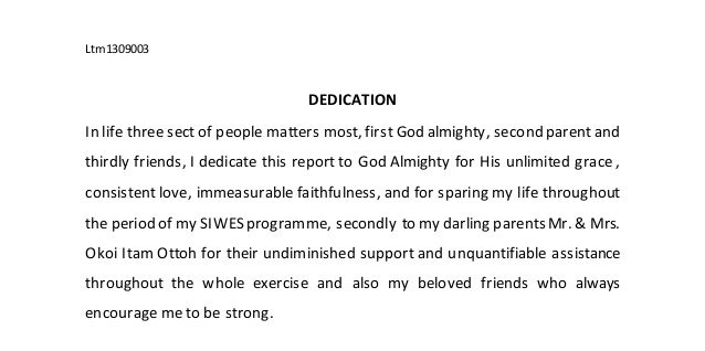 Dedication in a SIWES Industrial Training Report