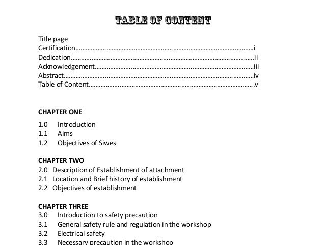 Well structured table of content